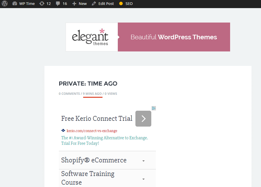 wordpress time ago for posts