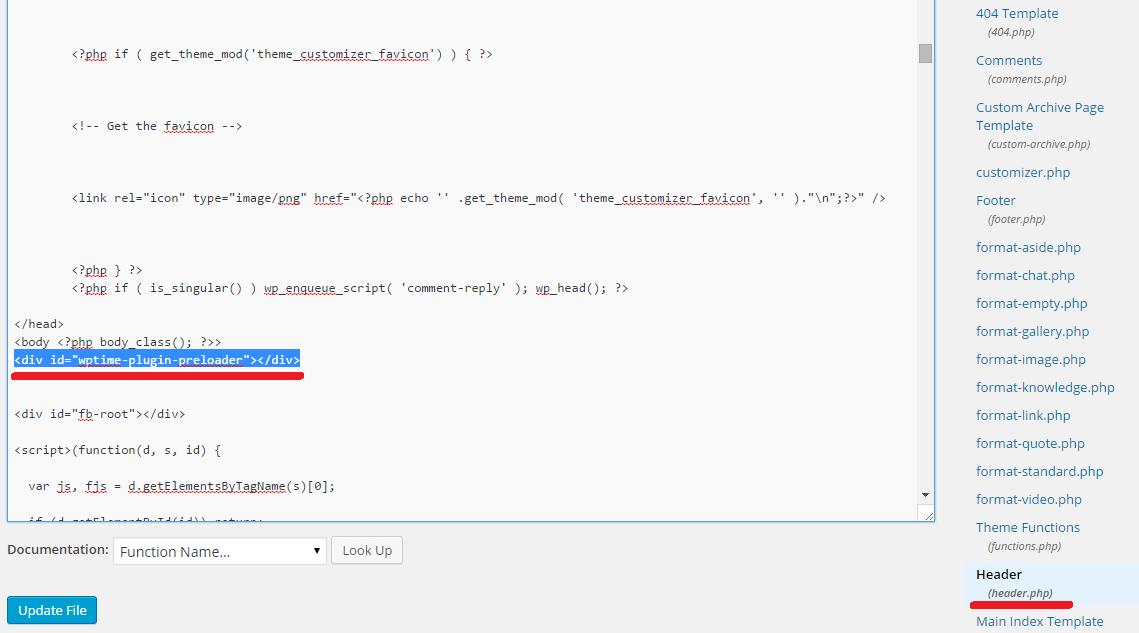 wordpress preloader header