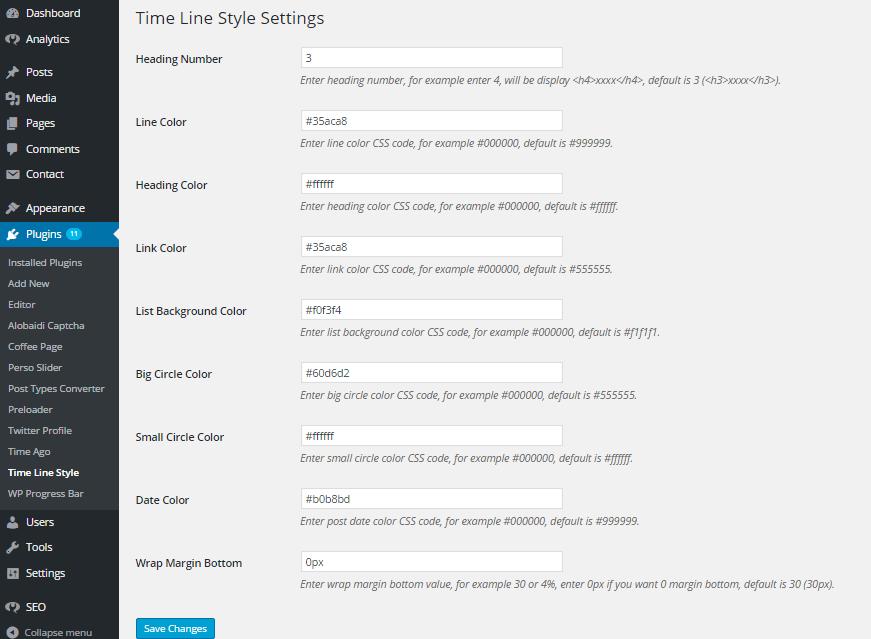 wordpress timeline plugin style settings