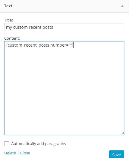 recent posts shortcode in widget