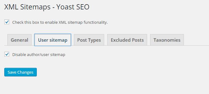 seo settings - xml user sitemap
