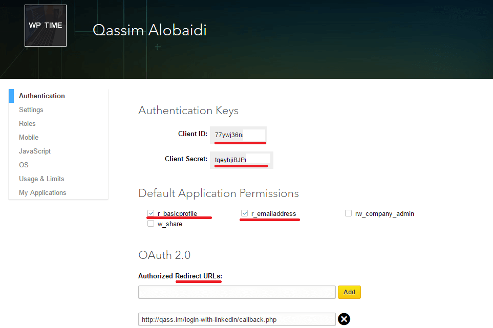 login with linkedin api php