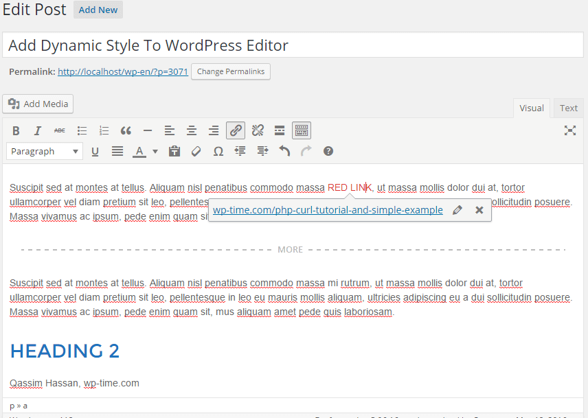Add Dynamic Style To WordPress Editor