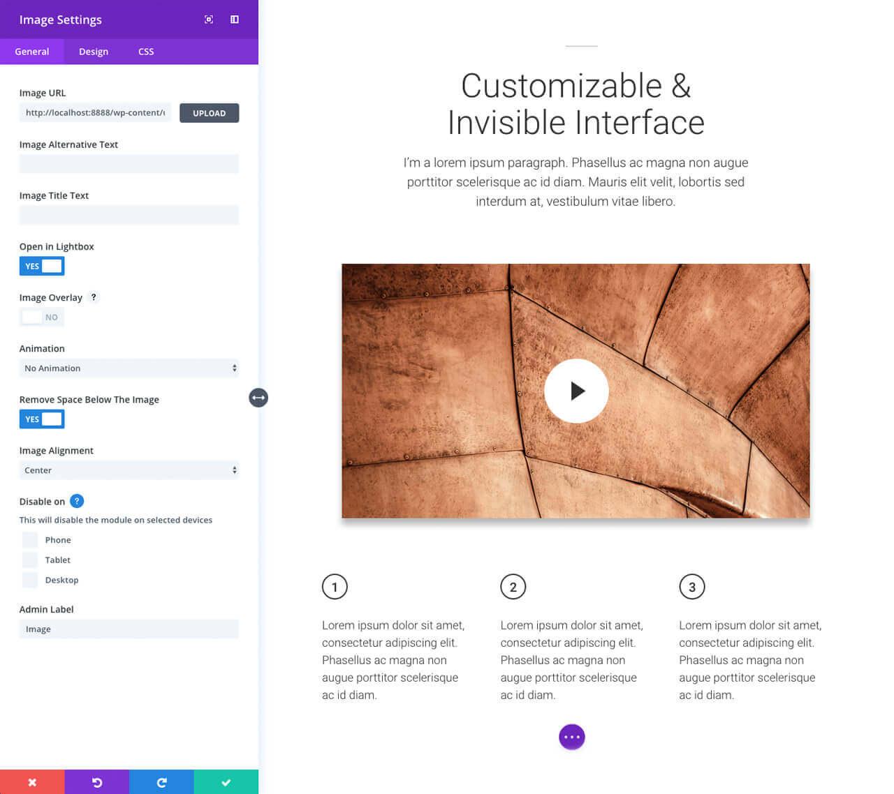 elegant themes customizable interface