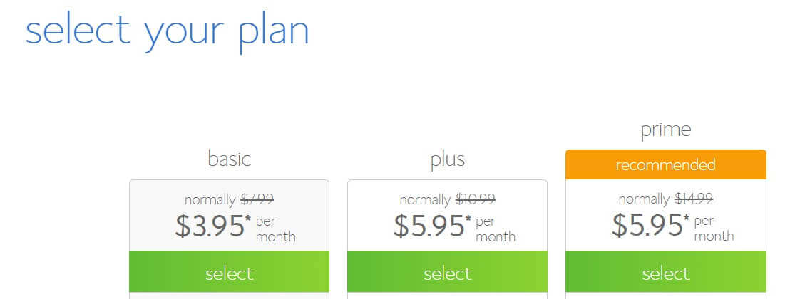 bluehost select your plan