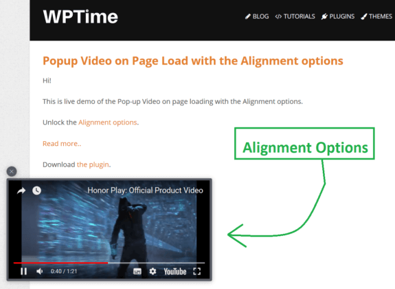 Video PopUp Plugin For WordPress - WPTime